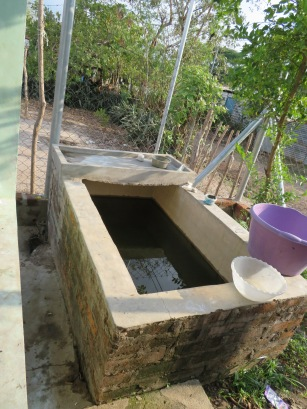 Many homes have concrete water basins to catch rain water